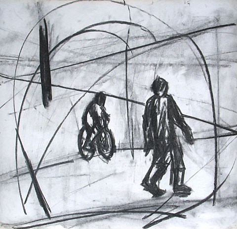 Bicycle I, 2006, charcoal on paper, 47×50 cm