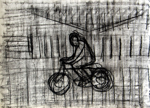 Bicycle II, 2006, charcoal on paper, 24×32 cm
