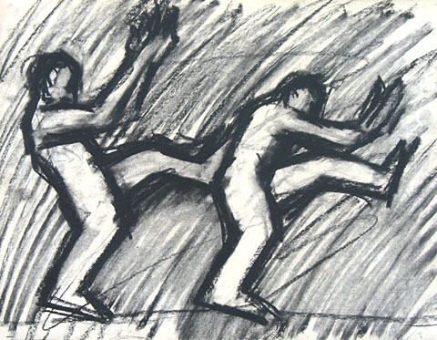 Capoeira I, 2006, charcoal on paper, 24×33 cm
