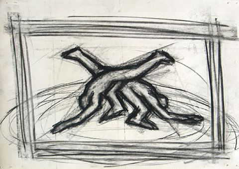 Capoeira II, 2006, charcoal on paper, 24×30 cm