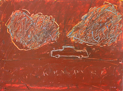 Car and Clouds I, 2003, oil on cardboard, 33×44 cm