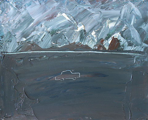 Car and Clouds II, 2003, oil on cardboard, 32×42 cm