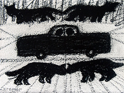 Cats and Cars, 1999, charcoal on paper, 21×29 cm