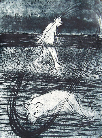 Horizon (Autumn Days artist´s book), 2005, etching, 38×28 cm