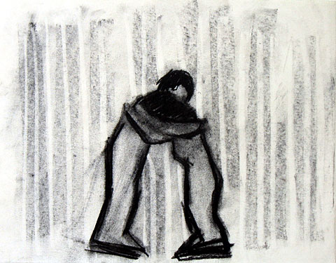 Hug I, 2005, charcoal on paper, 24×30 cm