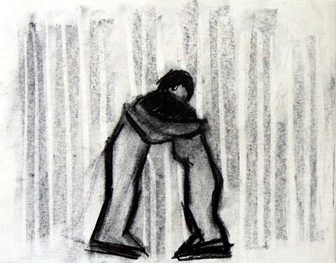 Hug I, 2005, charcoal on paper, 24×30 cm