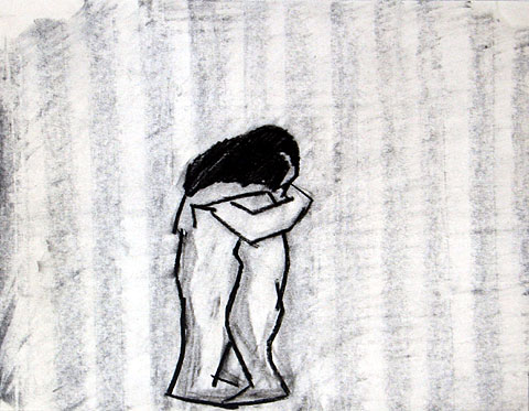 Hug II, 2005, charcoal on paper, 24×30 cm