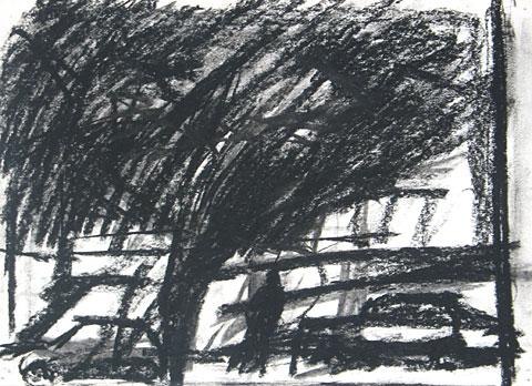Landscape I, 2006, charcoal on paper, 23×32