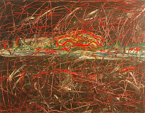 Noisy Car, 2000, oil on canvas, 120×155 cm