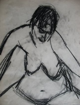 Nude, 2009, charcoal on paper, 45×35 cm
