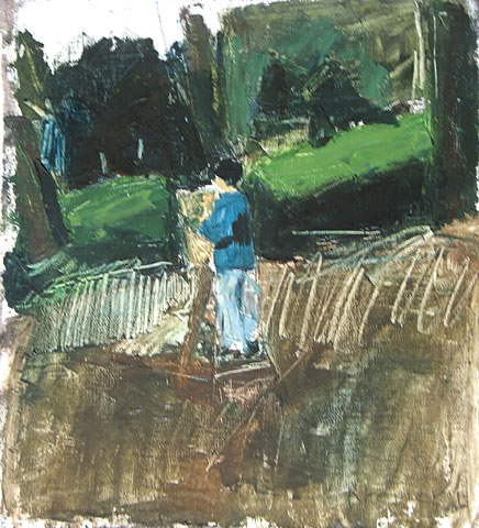 Painting in Landscape, 2002, oil on canvas, 35×33 cm