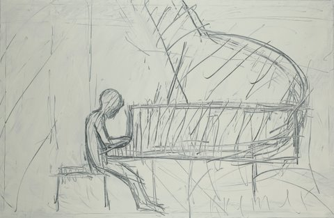 Pianist I 2011, oil on canvas, 160X244 cm