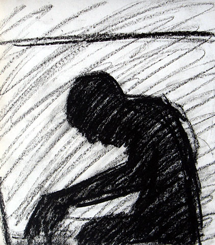 Seating Figures, 2006, charcoal on paper, 27×23 cm