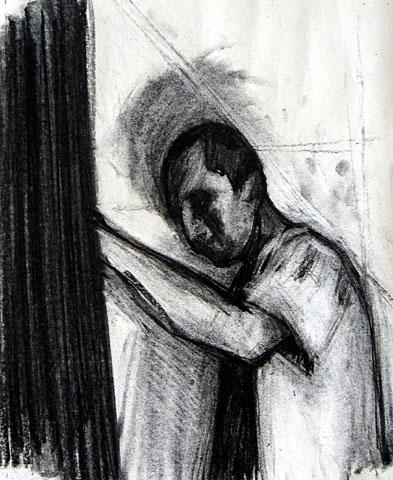 Self Portrait I, 2005, charcoal on paper, 24×20 cm