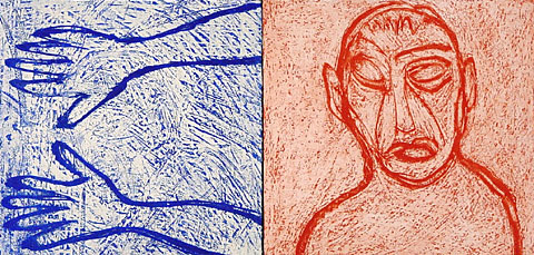 Self Portrait I (Diptych), 2001, etching, 40×76 cm, edition of 12