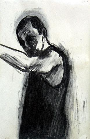 Self Portrait II, 2005, charcoal on paper, 36×24 cm