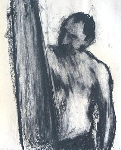 Self Portrait III, 2005, charcoal on paper, 30×23 cm