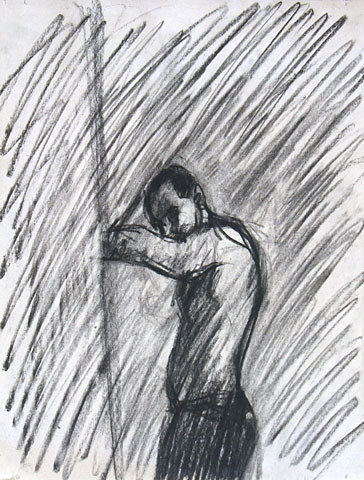 Self Portrait IV, 2005, charcoal on paper, 30×23 cm