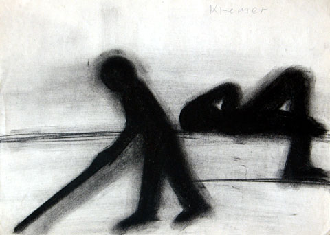 Soldiers, 1999, charcoal on paper, 25×35 cm