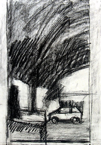 Tree and Car II, 2005, charcoal on paper, 36×26 cm