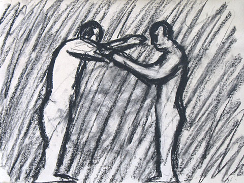 Two Figures I, 2006, charcoal on paper, 24×31 cm