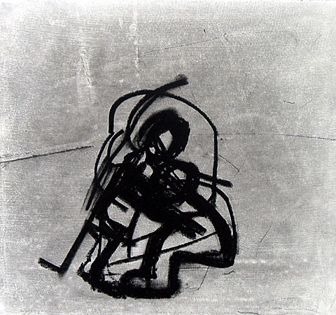 Two Figures II, 2004, charcoal on paper, 26×27 cm