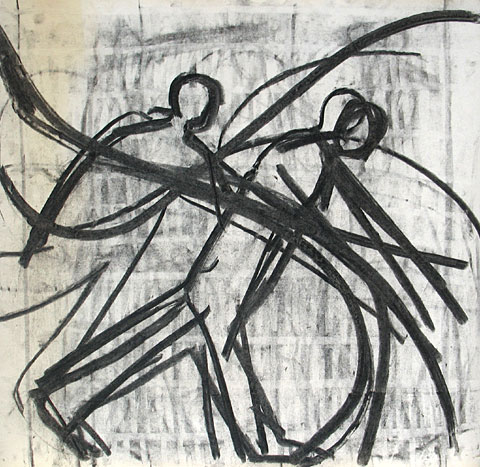Two Figures III, 2006, charcoal on paper, 47×49 cm