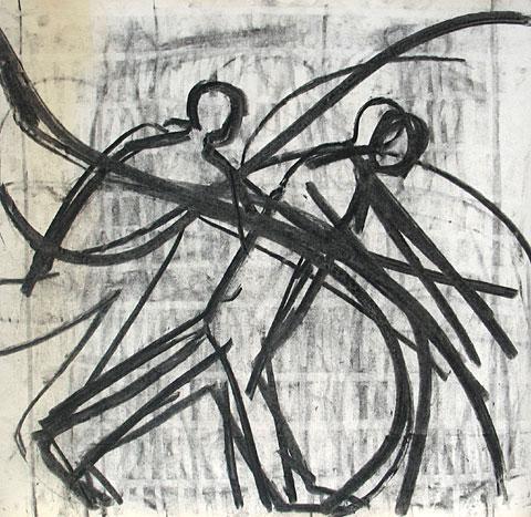 Two Figures III, 2006, charcoal on paper, 47×49 cm