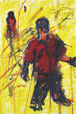Two Figures and Yellow, 2001, oil on canvas, 41×28 cm