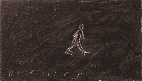 Walking Figure, 2002, oil on canvas, 35×61 cm